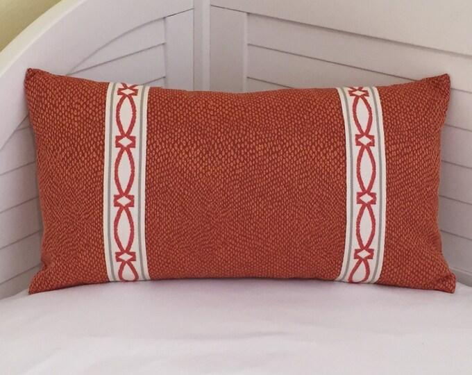 Bella Dura Spots in Pumpkin Indoor Outdoor Lumbar Pillow Cover with Trim Tape