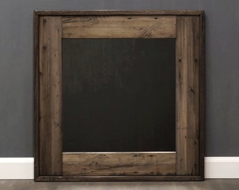 Reclaimed Wood Mirror Bathroom Mirror Brown w Earthy Neutrals Distressed Wood Frame Rustic Wall Mirror Decorative Square  26 x 26