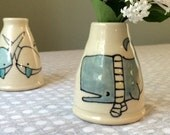 Whale in scarf bud vase