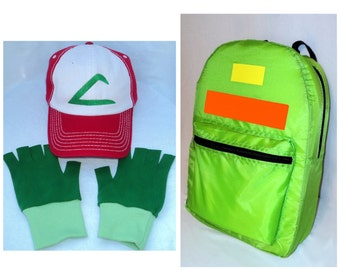 Pokemon Ash  Accessory Set Backpack FABRIC Hat and Gloves Halloween costume Choose your Size