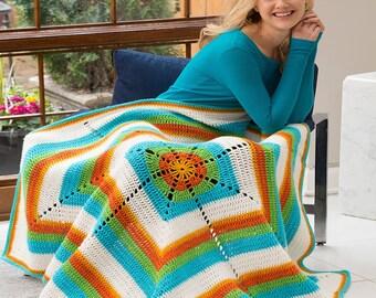 Bright & Breezy Crochet Afghan 48x48   Rainbow Colors