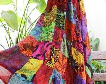 Floral Print Thai Soft Cotton Patchwork Boho Skirt - elastic waist OM1610-04