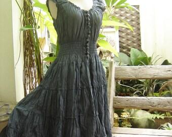 Princess Cotton Short Dress - Grey