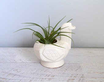 Vintage Bird Planter, Air Plant Holder, Swedish Modern White Ceramic Figurine, Scandinavian Style, Japan