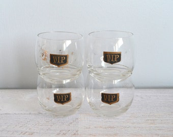 Vintage VIP Barware, Roly Poly Glasses, 4 Gold and Black Drinking Glassware, Midcentury 1960s Glass Set
