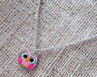Pink Gingham Owl Stainless Steel Necklace ~ Cute owls