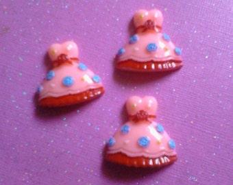 Kawaii pink girly dress cabochon craft Deco diy charms 3 pcs