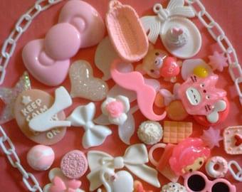Kawaii pink and white cabochon decoden diy charm mix  312  more than 30 pcs---USA seller