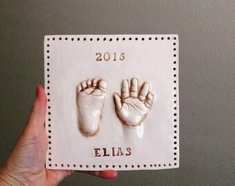 Ceramic Baby Plaque - Custom Baby and Child Keepsake - Handprint Art - Hand Print Gift - Handprint Plaque - Baby Gift - Personalized Nursery