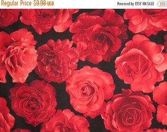 ON SALE Dramatic Red on Black Roses Print Pure Cotton Fabric--One  Yard