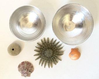 Silver Leaf Bowl, Porcelain Bowl with Silver Leaf, Jewelry or Trinket Bowl Home Decor