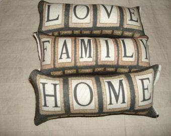 3 pc love family home themed ornies decorative bowl fillers primitive shabby tucks