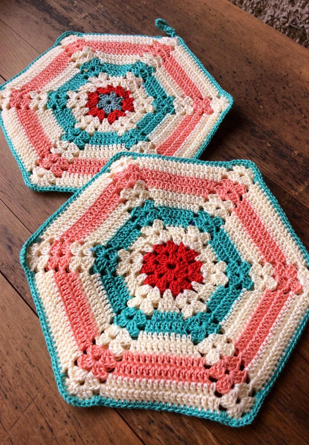 Crocheted Vintage Pot Holder Set Of Two In Teal And Peach