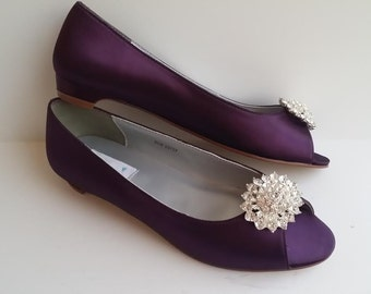 SALE Eggplant Purple Wedding Bridal Shoes With Crystal Design Pick From OVER 100