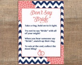 Don't Say Bride Printable Game Sign, Navy and Coral Mums Wedding Shower Game, Bridal Game, INSTANT DOWNLOAD