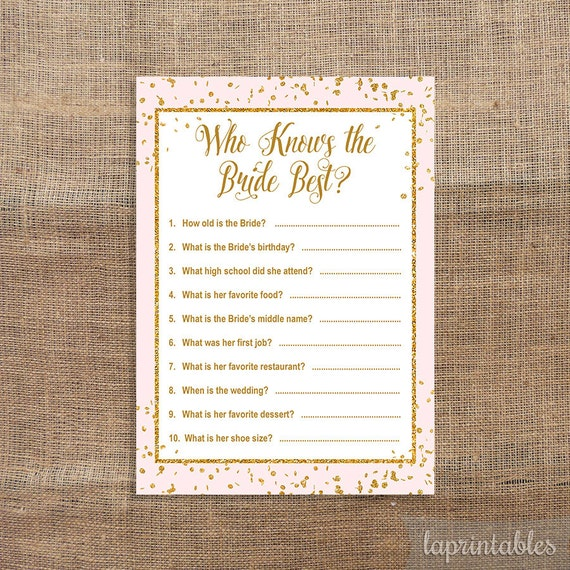 Who Knows The Bride Best Printable Game Pink By LAPrintables