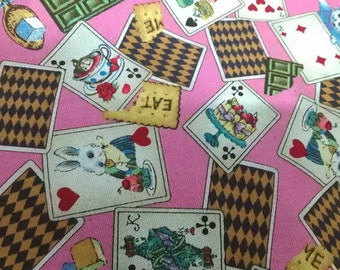 "Alice wonderland and poker - 2 yards - cotton linen - 3 colors - Fairy tale ,sewing , Check out with code ""5YEAR"" to save 20% off"
