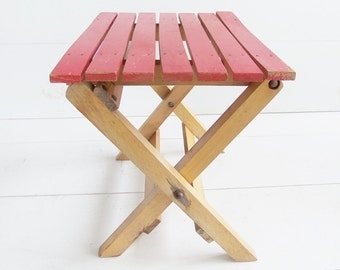 Vintage  Red Slat Folding Stool Bench