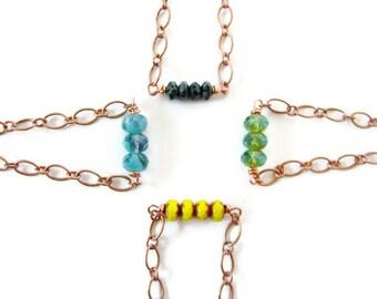 Copper Czech Glass Beaded Bar Bracelet in Yellow, Blue, Black or Green, Stacking Bracelet, Bohemian Nature Jewelry