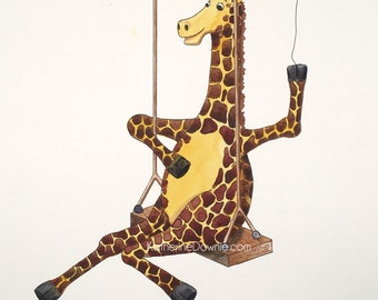 Watercolor Giraffe on a Swing Print