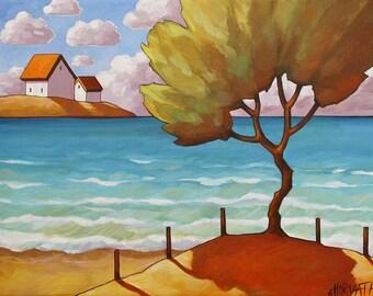 Ocean Beach Tree 5x7 Art Print, Coastal Folk Art Giclee by Cathy Horvath, Seaside Summer Cottages, Lake House Landscape Artwork Acid Free