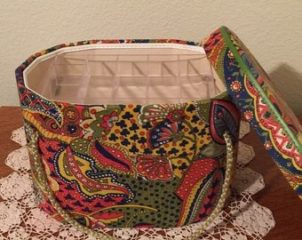 Vintage Retro Paisley Sewing Kit Box