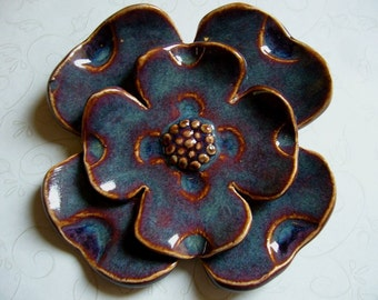 Dark Blueberry Wine Ceramic Flower Wall Hanging