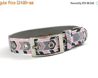 BIG SALE Dog Collar with Metal Buckle-Pink and Grey Chevron Stripe
