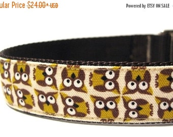 ON SALE Owl Dog Collar with Metal Buckle- Yellow Owl