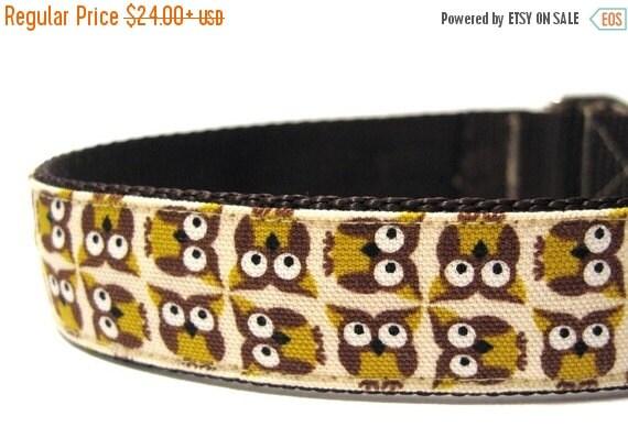 ON SALE Owl Dog Collar with Metal Buckle- Yellow Owl
