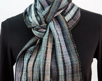 Gray Rayon Boucle Scarf, Spaced Dyed Strips with Black Accents
