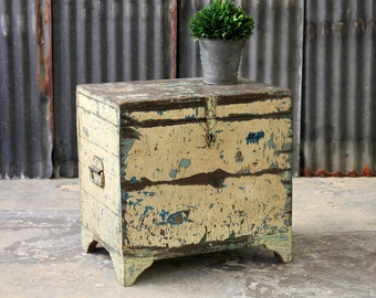 Trunk Side Table Chippy Yellow and Turquoise Chest Salvaged Reclaimed Trunk Indian Furniture Boho Furniture Distressed Table Top