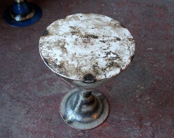 Reclaimed Industrial White Metal Side Table Metal Barrel Stool Upcycled Metal Table Loft Furniture