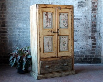 Reclaimed Indian Cabinet Hand Painted Cottage Chic Bathroom Cabinet Distressed Vintage Yellow Cupboard Boho Bar Cabinet Import Furniture