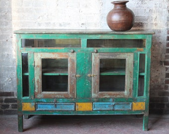 Restored Vintage Sideboard Acid Washed Teak Wood Industrial Farm Chic Media Stand Buffet Media Console TV Stand