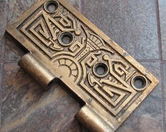 Antique Vintage Heavy Brass Hinge Half Piece Arts and Crafts No. 1 of 2 Altered Art Assemblage Craft Restoration Supply