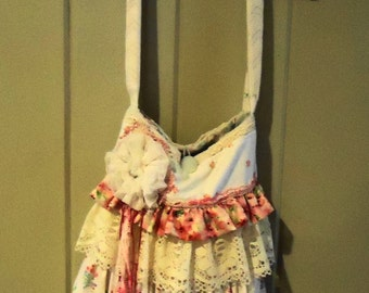 Shabby n Chic Cream and  Pink Shoulder Bag -Layered Ruffles and Lace Hand Made