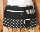 Vendor Apron, Utility Apron, Teacher Apron - Black with White Dots and Stripes - Ready to Ship