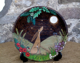 Moon Gazing Hare Plate. Litha, Mid Summer, Solstice, wood wall plaque, OOAK, Pagan, Wicca, Hedgewitch,  Hand Painted, Hare painting, Gift,