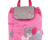 Personalized Monogrammed --New Pattern- Stephen Joseph Kid Quilted Pink Grey Elephant Backpack--Free Monogramming--Fast Turnaround