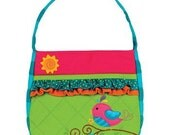 Monogrammed Stephen Joseph Quilted Ruffled lime teal Bird Purse---Fast Turnaround---FREE MONOGRAMMING---