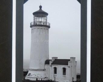 Photo Greeting Card, North Head Lighthouse, Ilwaco WA, Black & White, Blank Inside