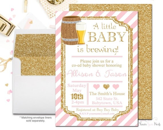 Coed Baby Shower Invitation, Baby Is Brewing Invitation, Beer Baby Shower, Pink and Gold Baby Shower, Baby Shower Girl, Glitter Invitation