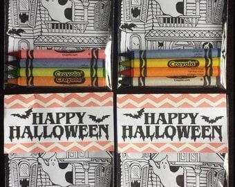 SALE - 25 Kids Halloween Card Crayon Packs