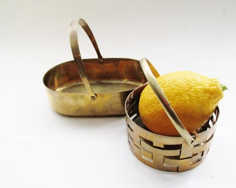 Set of Two Vintage Brass Dish, Brass Basket, Handled Dish, Hollywood Regency