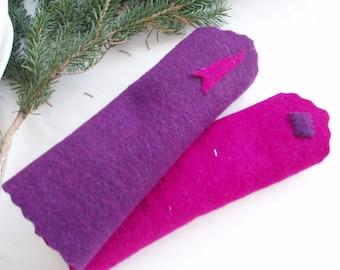 ARM WARMERS Doubleface - pink / aubergine (154)