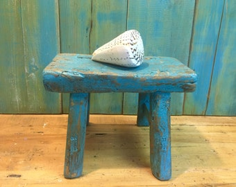 Vintage Chinese Step Stool Turquoise Beach House Rustic Footstool Bench Country Farmhouse Beach House Decor at CastawaysHall
