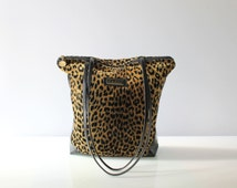 Carlos Falchi Leopard Print Shoulder Bag with Patent Leather Sides // Vintage Medium Size Tote Purse