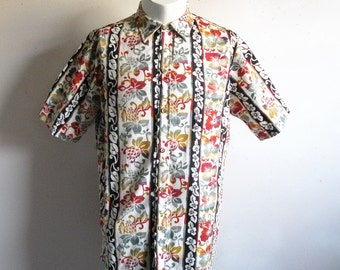 Vintage 1980s Hawaiian Shirt Cotton Print Floral Stripe Short Sleeve Mens Summer Shirts Large
