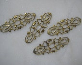 Vintage Brass Open Cut Work Filigree Finding, Brass Jewelry Finding, Connector, Embellishment Trim, 38mm X 15mm, 1 Pc.